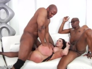 Kendra Lust interracial threeway fucking and double facial