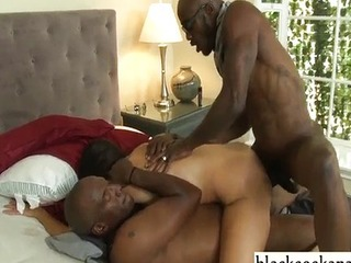 Hot young white wife anal rides black cocks