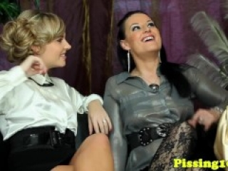 Pissing lesbian threeway action from europe