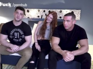 WOW! Boyfriend of SEXY Ass RedHead Watches 2 Bi Guys Explore Her.