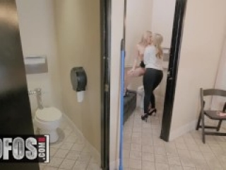 MOFOS - Worlds luckiest man fucks two blondes in the bathroom