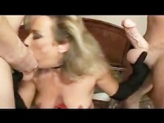 Blonde cougar Anjelica Fox threesome