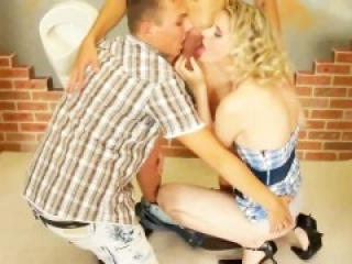 Bisexual MMF threesome in bathroom