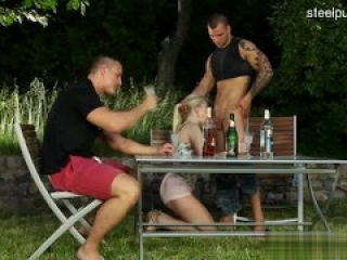 part 1 Hot Bisexual Orgy Three Muscle Hunks and two Blonde Girls Jamesxxx71