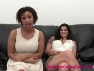 BFFs interracial Threeway backroom casting couch